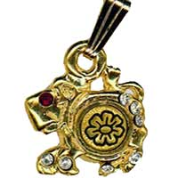 Damascene Gold Leo the Lion Zodiac Pendant on Chain Necklace by Midas of Toledo Spain style 5410