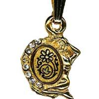 Damascene Gold Virgo the Virgin Zodiac Pendant on Chain Necklace by Midas of Toledo Spain style 5411