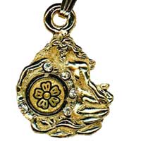Damascene Gold Aquarius the Water Bearer Zodiac Pendant on Chain Necklace by Midas of Toledo Spain style 5416